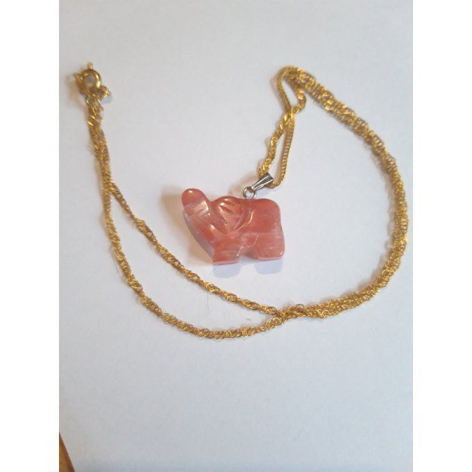 Collier Eléphant Quartz rose